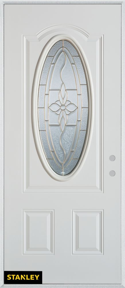 34-inch x 80-inch Traditional Patina Oval Lite 2-Panel White Steel Entry Door with Left Inswing