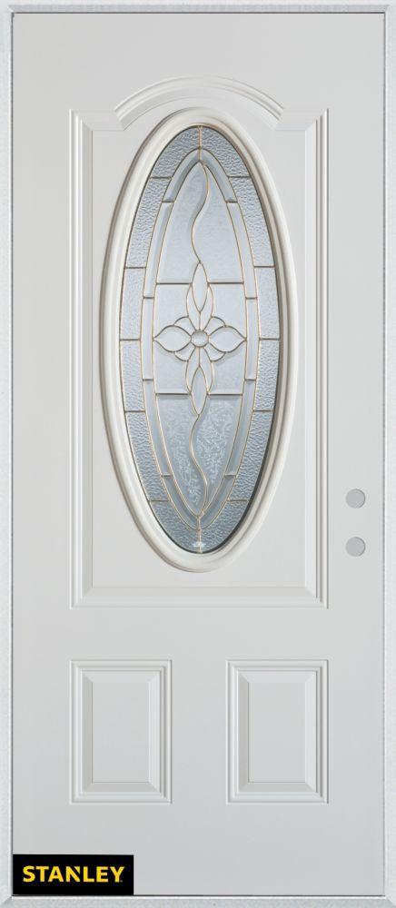 Porte dentrée en acier préfini blanc, munie dun 3/4 verre patina ovale, 34 po x 80 po - Gauche