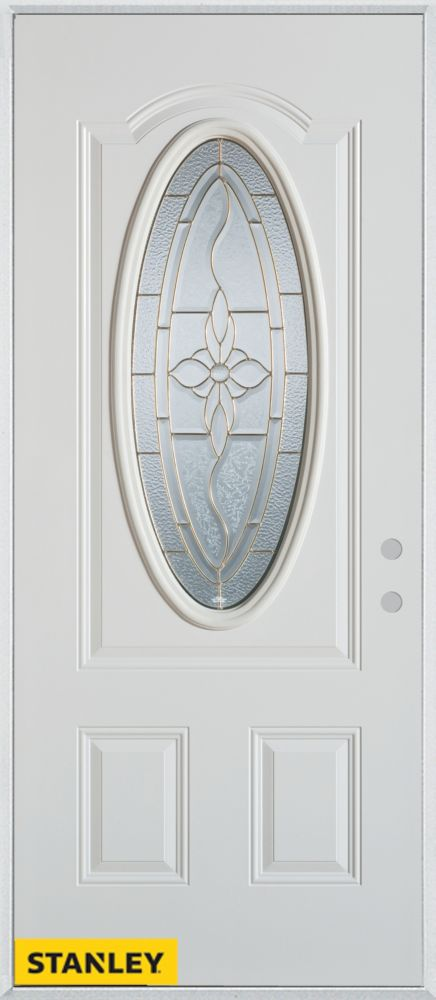 36-inch x 80-inch Traditional Patina Oval Lite 2-Panel White Steel Entry Door with Left Inswing