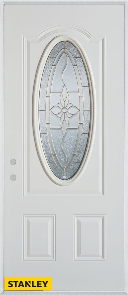 36-inch x 80-inch Traditional Patina Oval Lite 2-Panel White Steel Entry Door with Right Inswing
