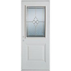 Stanley Doors Porte dentrée en acier préfini blanc, munie d'un panneau et d'un 1/2 verre zinc, 32 po x 80 po - Droite - ENERGY STAR®