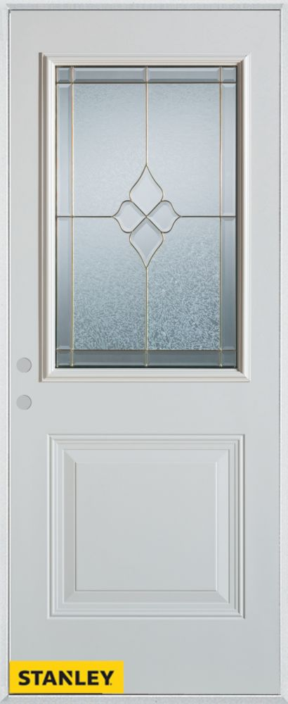 Stanley Doors 35.375 inch x 82.375 inch Beatrice Brass 1/2 Lite 1-Panel Prefinished White Right-Hand Inswing Steel Prehung Front Door - ENERGY STAR®