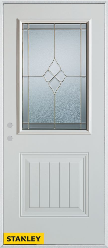 32-inch x 80-inch Geometric 1/2-Lite 1-Panel White Steel Entry Door with Right Inswing
