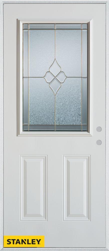 Porte dentrée en acier préfini blanc, munie de deux panneaux et d'un 1/2 verre, 32 po x 80 po - G...