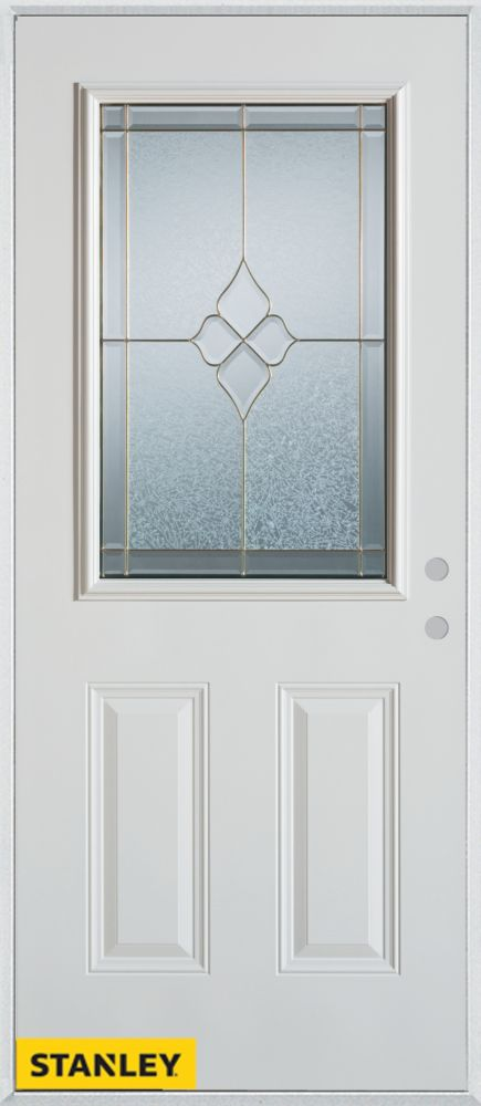 33.375 inch x 82.375 inch Beatrice Brass 1/2 Lite 2-Panel Prefinished White Left-Hand Inswing Steel Prehung Front Door - ENERGY STAR®