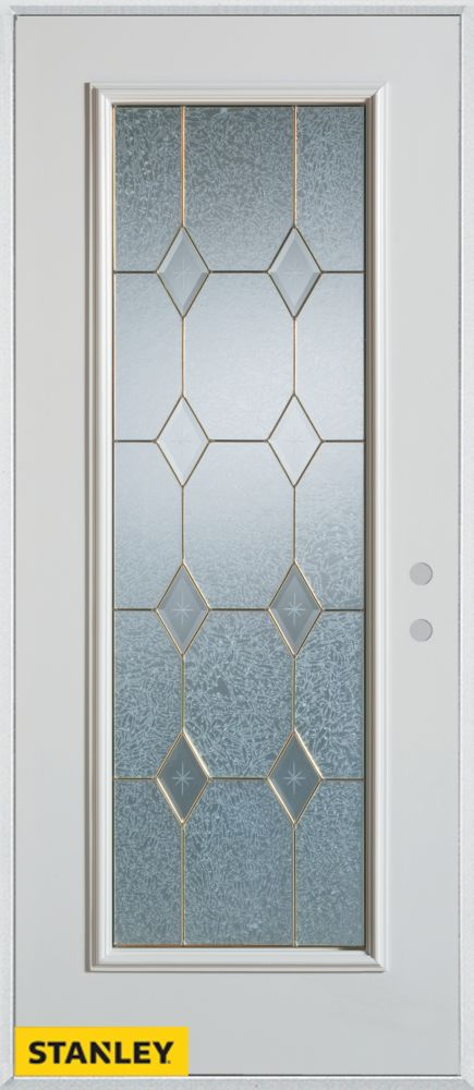 32-inch x 80-inch Geometric Patina Full Lite 2-Panel White Steel Entry Door with Left Inswing