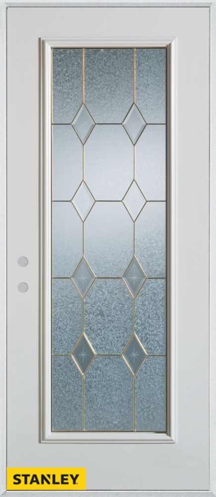 36-inch x 80-inch Geometric Patina Full Lite 2-Panel White Steel Entry Door with Right Inswing