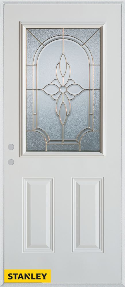 32-inch x 80-inch Traditional Patina 1/2-Lite 2-Panel White Steel Entry Door with Right Inswing