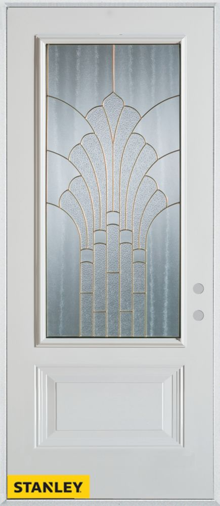36-inch x 80-inch Art Deco 3/4-Lite 1-Panel White Steel Entry Door with Left Inswing