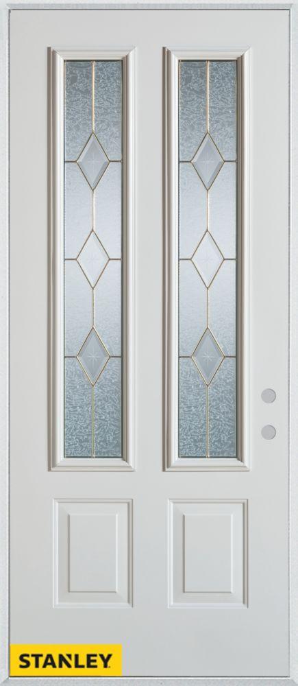 Porte dentrée en acier préfini blanc, munie de deux panneaux et deux verres zinc, 32 po x 80 po -...
