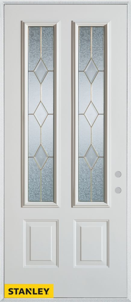 36-inch x 80-inch Geometric Patina 2-Lite 2-Panel White Steel Entry Door with Left Inswing