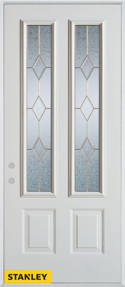 Porte dentrée en acier préfini blanc, munie de deux panneaux et deux verres zinc, 36 po x 80 po -...