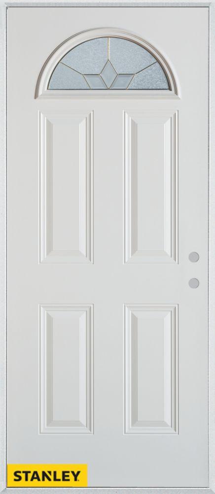 Porte dentrée en acier préfini blanc, munie de quatre panneaux et dun verre en évantail patina, 3...