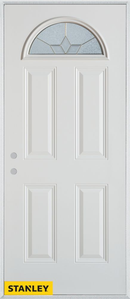 32-inch x 80-inch Geometric Fan Lite 4-Panel 2-Panel White Steel Entry Door with Right Inswing