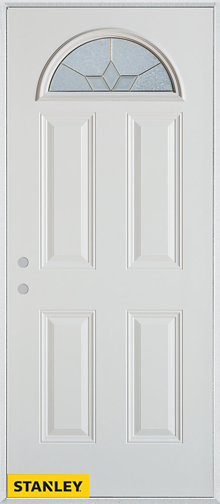 33.375 inch x 82.375 inch Tulip Brass Fan Lite 4-Panel Prefinished White Right-Hand Inswing Steel Prehung Front Door - ENERGY STAR®