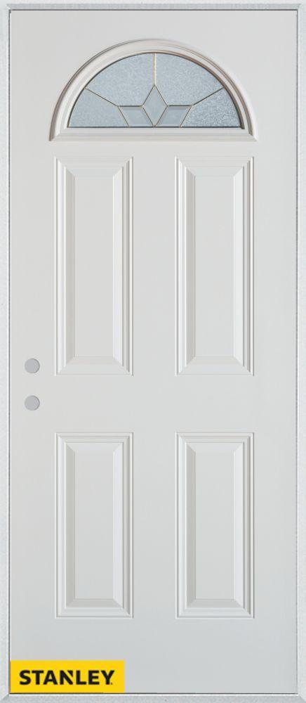 Porte dentrée en acier préfini blanc, munie de quatre panneaux et dun verre en évantail zinc, 32 ...