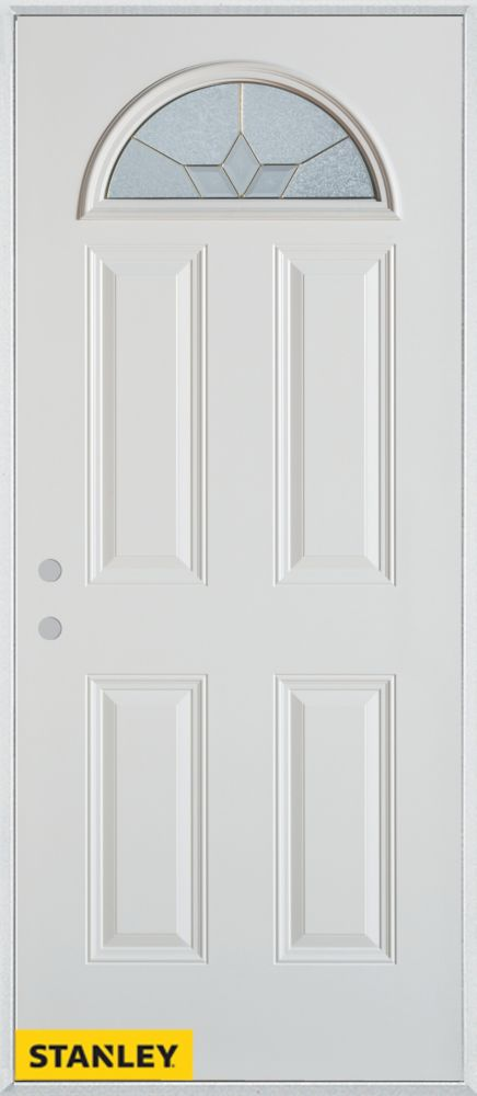35.375 inch x 82.375 inch Tulip Patina Fan Lite 4-Panel Prefinished White Right-Hand Inswing Steel Prehung Front Door - ENERGY STAR®