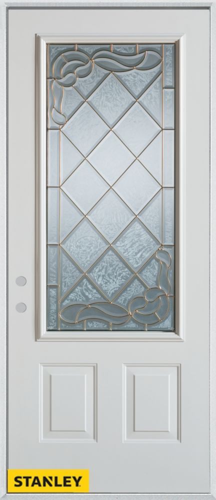 34-inch x 80-inch Art Deco Zinc 3/4-Lite 2-Panel White Steel Entry Door with Right Inswing