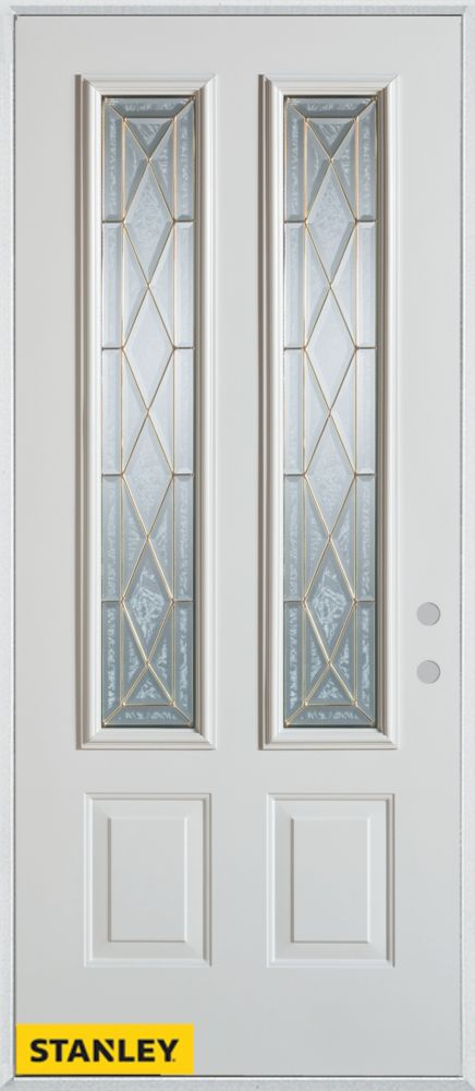 36-inch x 80-inch Art Deco Zinc 2-Lite 2-Panel White Steel Entry Door with Left Inswing
