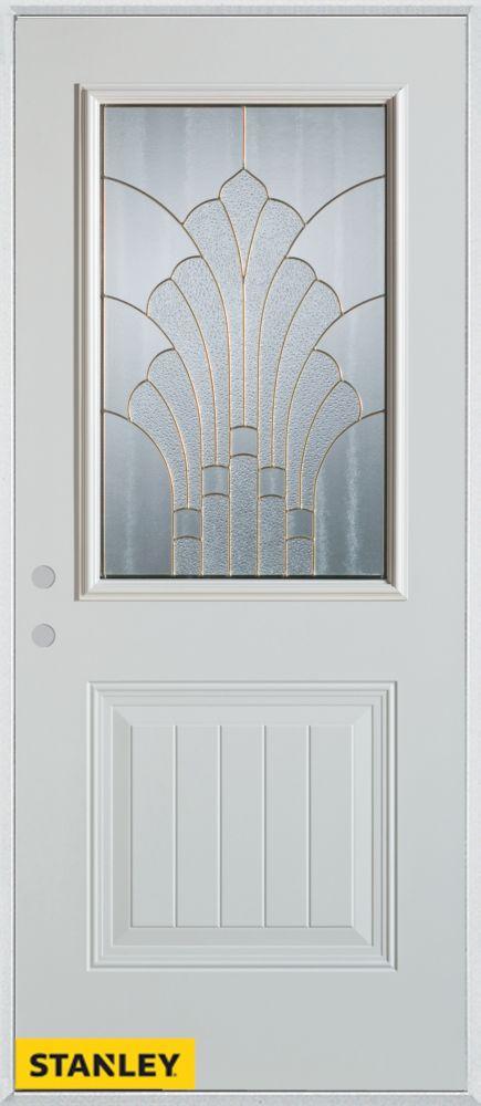 Porte dentrée en acier préfini blanc, munie d'un panneau et dun 1/2 verre zinc, 32 po x 80 po - D...
