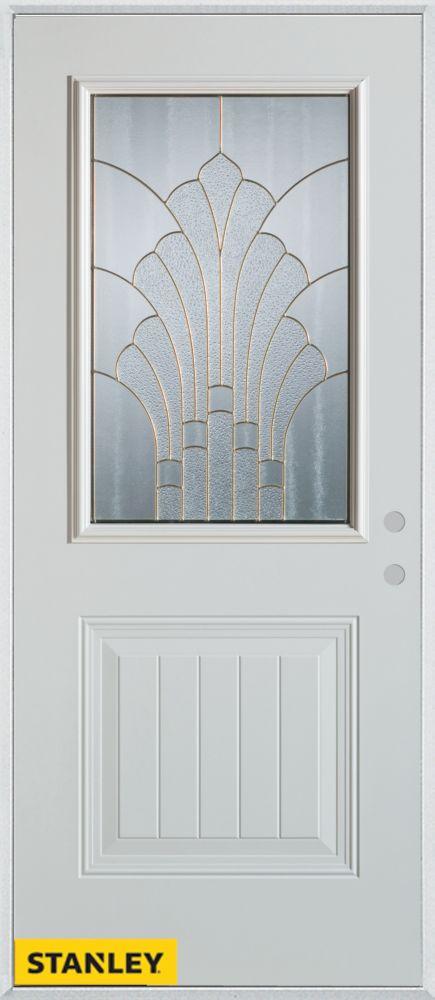 stanley doors 34 inch x 80 inch art deco patina 1 2 lite 1 panel white