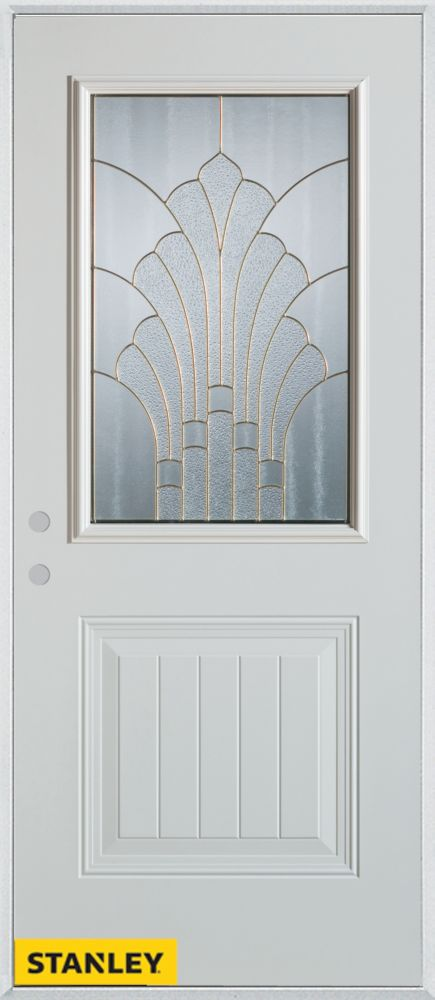 36-inch x 80-inch Art Deco 1/2-Lite 1-Panel White Steel Entry Door with Right Inswing