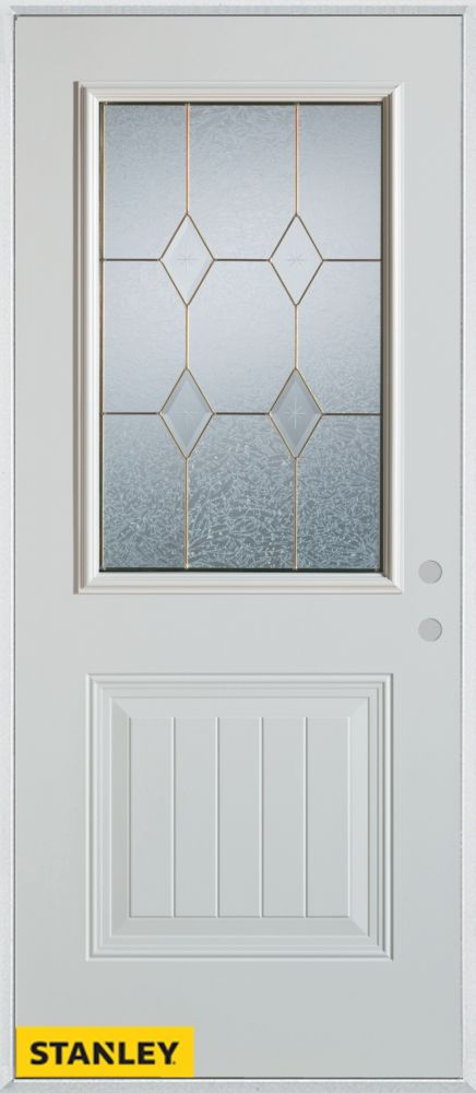 32-inch x 80-inch Geometric Zinc 1/2-Lite 1-Panel 2-Panel White Steel Entry Door with Left Inswin...