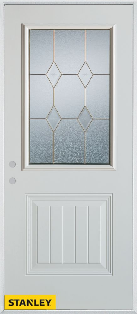 32-inch x 80-inch Geometric Zinc 1/2-Lite 1-Panel 2-Panel White Steel Entry Door with Right Inswi...