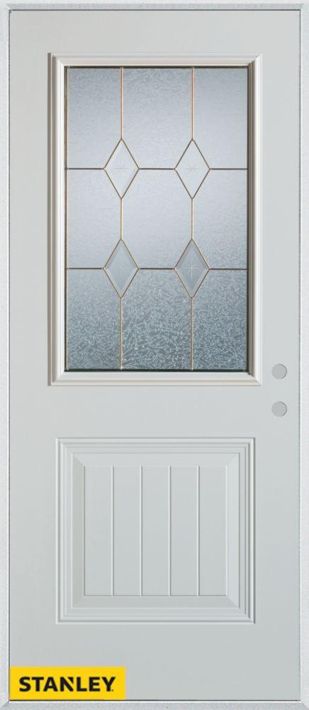36-inch x 80-inch Geometric Zinc 1/2-Lite 1-Panel 2-Panel White Steel Entry Door with Left Inswin...