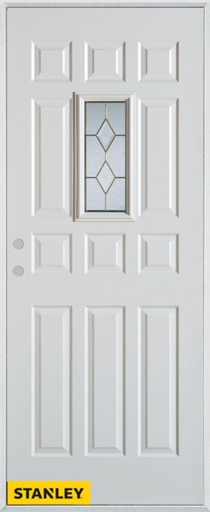 Porte dentrée en acier préfini blanc, munie de 12 panneaux et un verre rectangulaire zinc, 36 po ...
