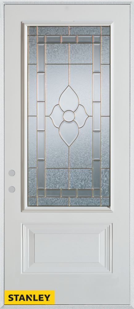 33.375 inch x 82.375 inch Marguerite Brass 3/4 Lite 1-Panel Prefinished White Right-Hand Inswing Steel Prehung Front Door - ENERGY STAR®