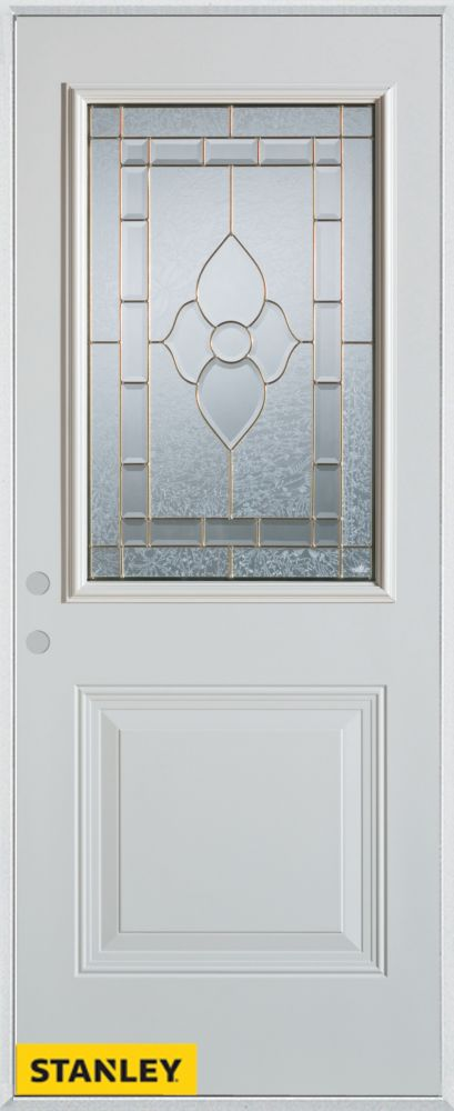 33.375 inch x 82.375 inch Marguerite Brass 1/2 Lite 1-Panel Prefinished White Right-Hand Inswing Steel Prehung Front Door - ENERGY STAR®