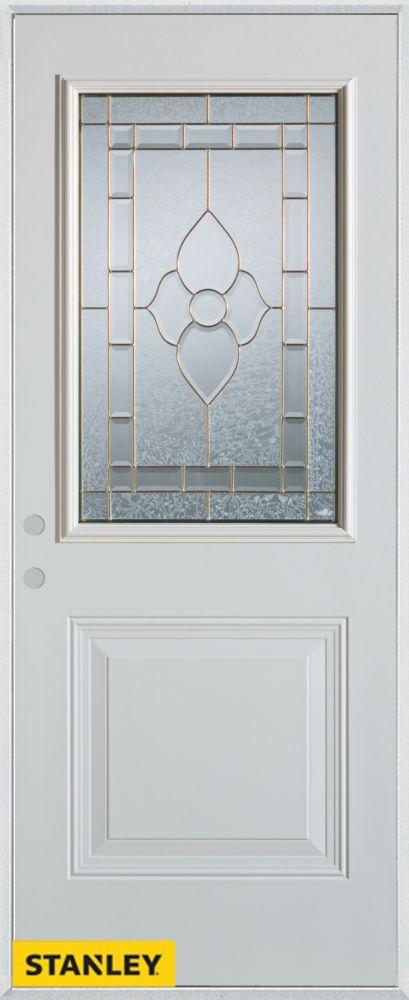 Porte dentrée en acier préfini blanc, munie d'un panneau et d'un 1/2 verre patina, 32 po x 80 po ...