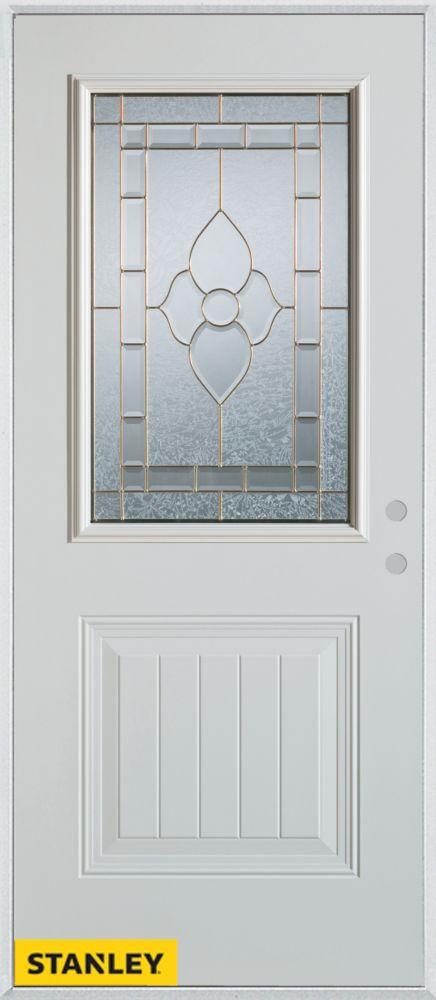 Porte dentrée en acier préfini blanc, munie d'un panneau et d'un 1/2 verre patina, 34 po x 80 po ...