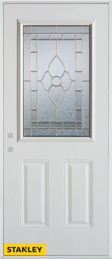 Porte dentrée en acier préfini blanc, munie de deux panneaux et d'un 1/2 verre patina, 36 po x 80...