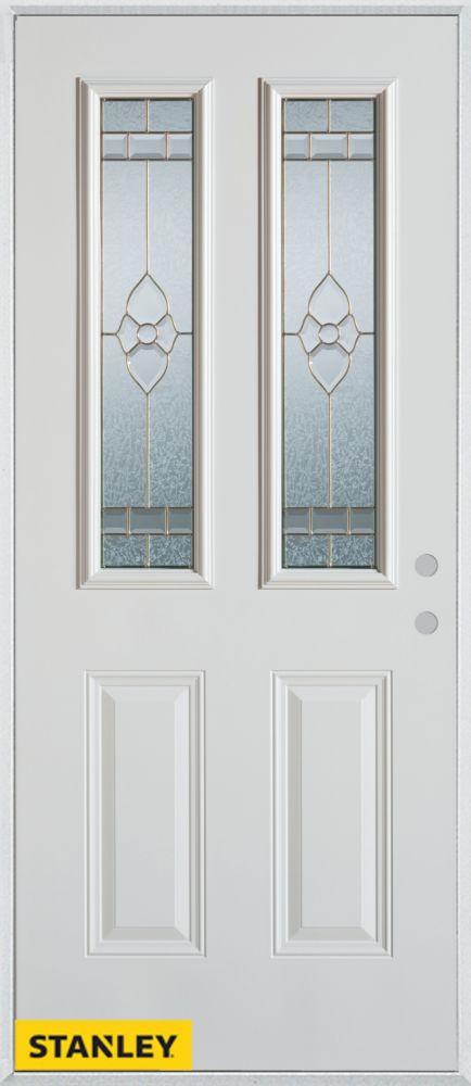 Porte dentrée en acier préfini blanc, munie de deux panneaux et deux verres patina, 34 po x 80 po...
