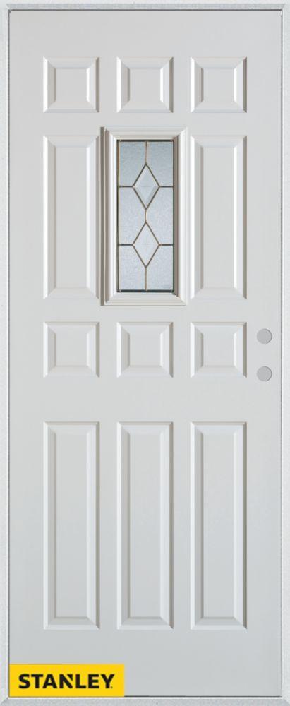 Porte dentrée en acier préfini blanc, munie de 12 panneaux et un verre rectangulaire zinc, 34 po ...