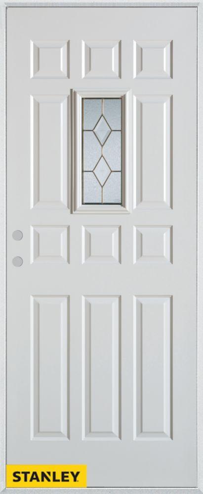 Porte dentrée en acier préfini blanc, munie de 12 panneaux et un verre rectangulaire patina, 36 p...