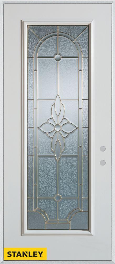 Porte dentrée en acier préfini blanc, munie d'un panneau de verre zinc, 32 po x 80 po - Gauche