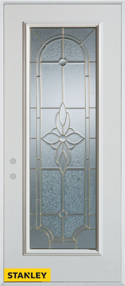 Porte dentrée en acier préfini blanc, munie d'un panneau de verre patina, 34 po x 80 po - Droite