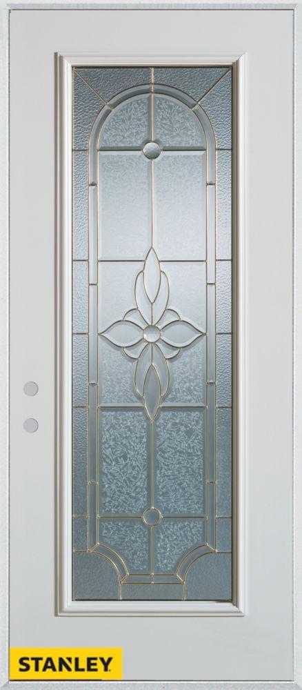 Porte dentrée en acier préfini blanc, munie d'un panneau de verre zinc, 34 po x 80 po - Droite