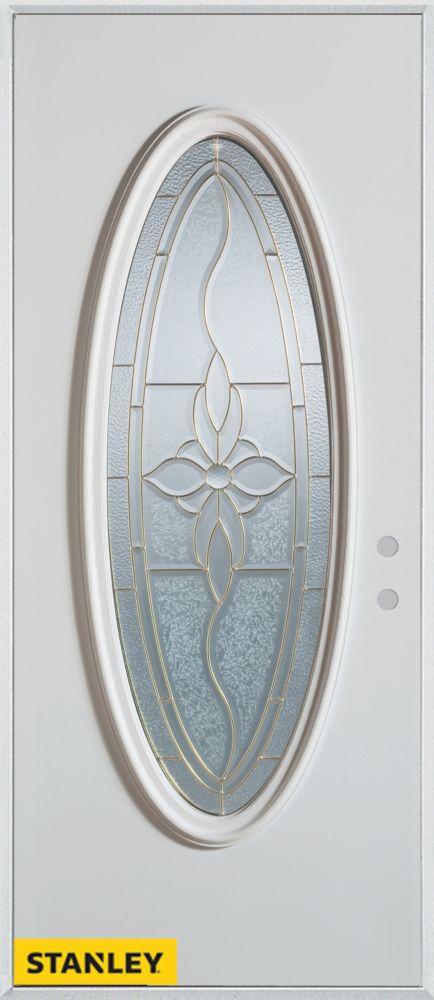 34-inch x 80-inch Traditional Patina Oval Lite White Steel Entry Door with Left Inswing