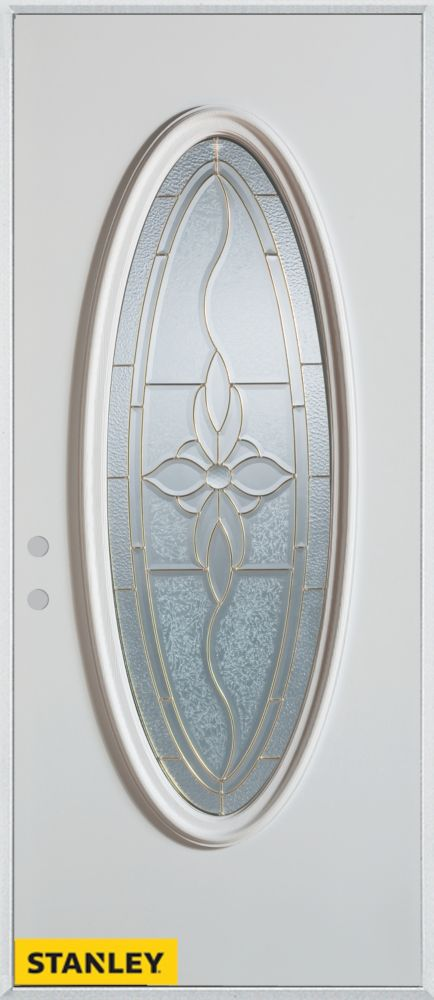 34-inch x 80-inch Traditional Oval Lite White Steel Entry Door with Right Inswing
