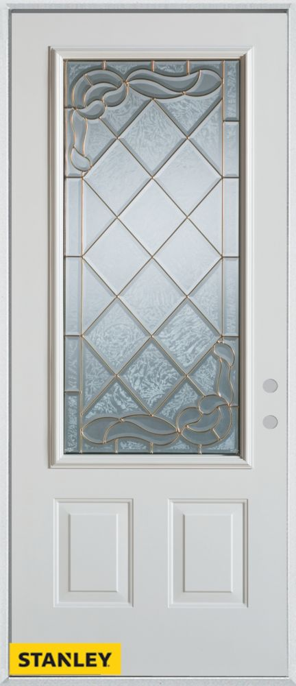 32-inch x 80-inch Art Deco 3/4-Lite 2-Panel White Steel Entry Door with Left Inswing