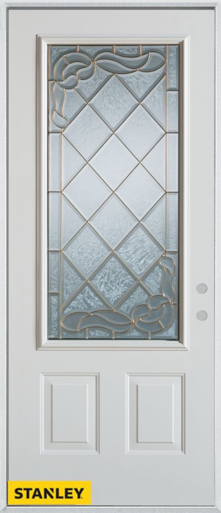 Porte dentrée en acier préfini blanc, munie de deux panneaux et dun 3/4 verre patina, 32 po x 80 ...