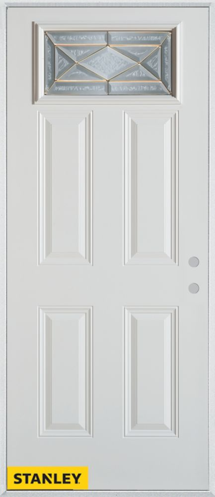 34-inch x 80-inch Art Deco Patina Rectangular Lite 4-Panel White Steel Entry Door with Left Inswi...