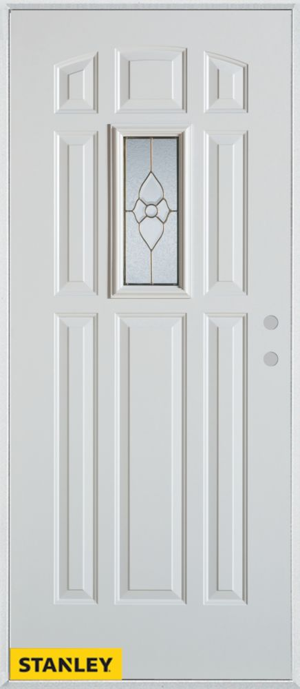 36-inch x 80-inch Traditional 9-Panel White Steel Entry Door with Left Inswing