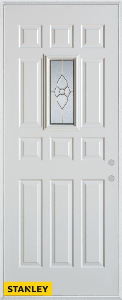 Porte dentrée en acier préfini blanc, munie de 12 panneaux et d'un verre rectangulaire, 32 po x 8...