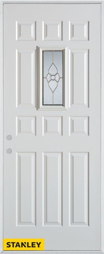 Porte dentrée en acier préfini blanc, munie de 12 panneaux et d'un verre rectangulaire, 34 po x 8...