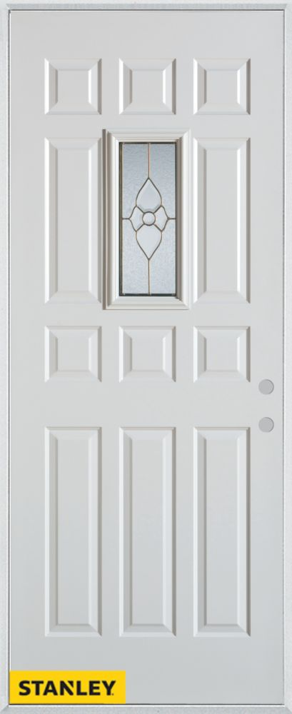 36-inch x 80-inch Traditional 12-Panel White Steel Entry Door with Left Inswing